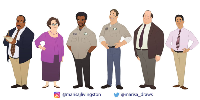 cast of the office as cartoon characters by marisa livingston 17 What Each Character Would Look Like in a Cartoon Version of The Office