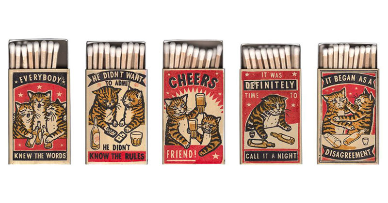 Vintage Matchbox-Style Artworks of Cats Making Questionable Decisions