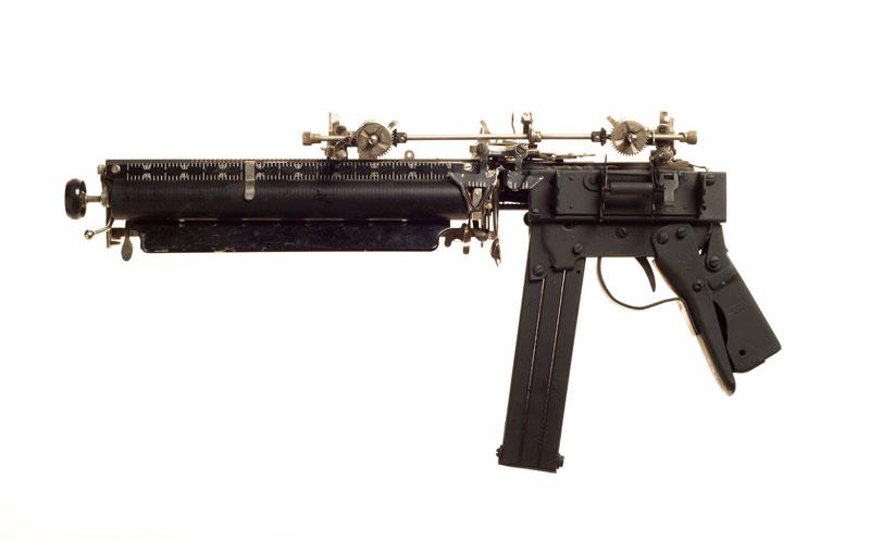 typewriter gun sculptures by ravi zupa mightier than series 12 Sculptural Guns Made from Typewriters Because Words are Mightier
