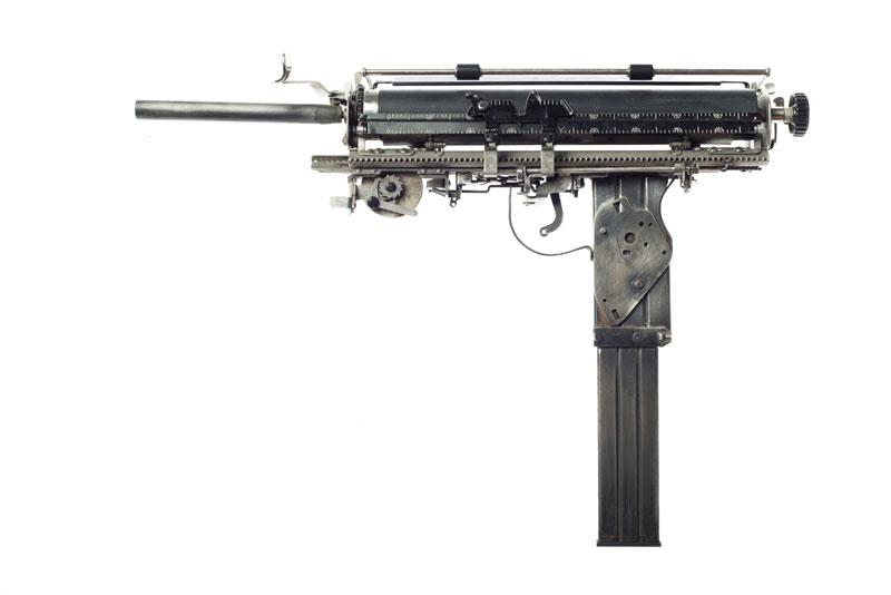 typewriter gun sculptures by ravi zupa mightier than series 4 Sculptural Guns Made from Typewriters Because Words are Mightier