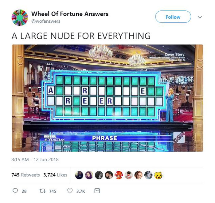wheel of fortune answers twitter parody account 12 This Wheel of Fortune Parody Accounts Attempts to Solve the Puzzle are Amazing