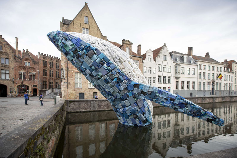 A 38 ft Tall Breaching Whale Made From 10,000 Pounds of Plastic Ocean Waste