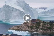 Incredible Timelapse Shows 300 ft Tall Iceberg Drift Perilously Past Small Village