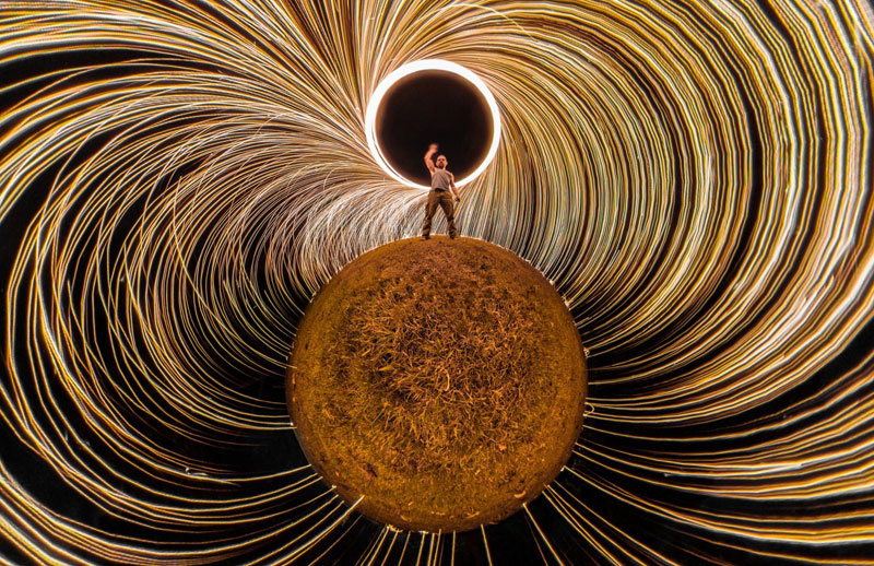 360 tiny planet steel wool When You Take Your 360 Camera and Some Steel Wool Out for the Night
