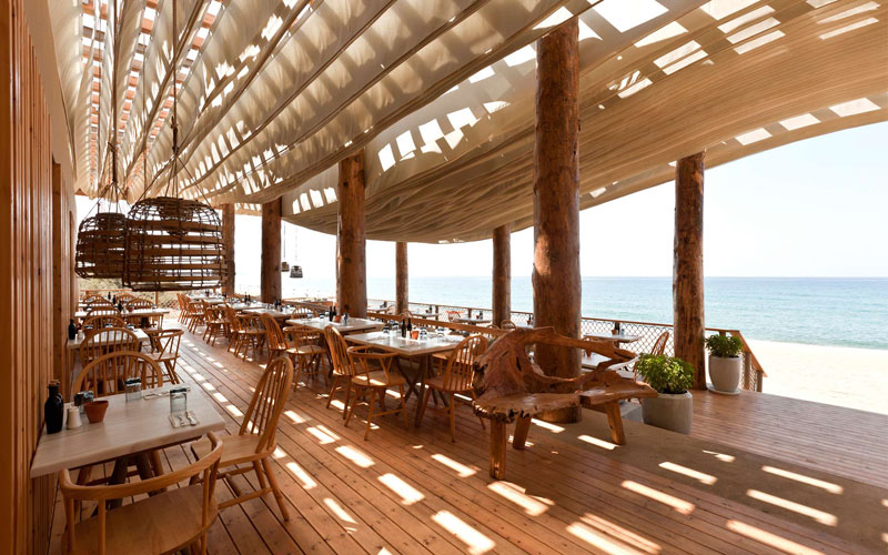 ceiling waves wind ripples beach bar barbouni greece by k studio 5 Check Out What Happens When the Wind Hits the Ceiling of this Beach Bar