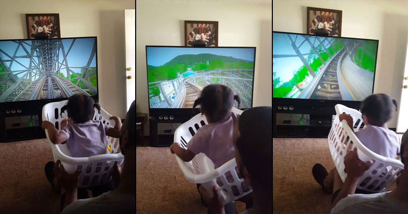 Awesome Dad Makes Roller Coaster Ride for Daughter With a Laundry Basket
