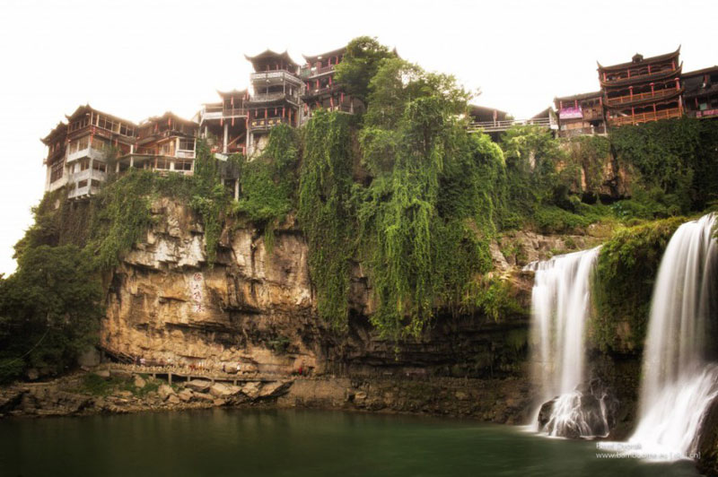 waterfall city china furong zhen town hibiscus town wang village 5 This Waterfall City in China Looks Straight Out of a Fantasy Film
