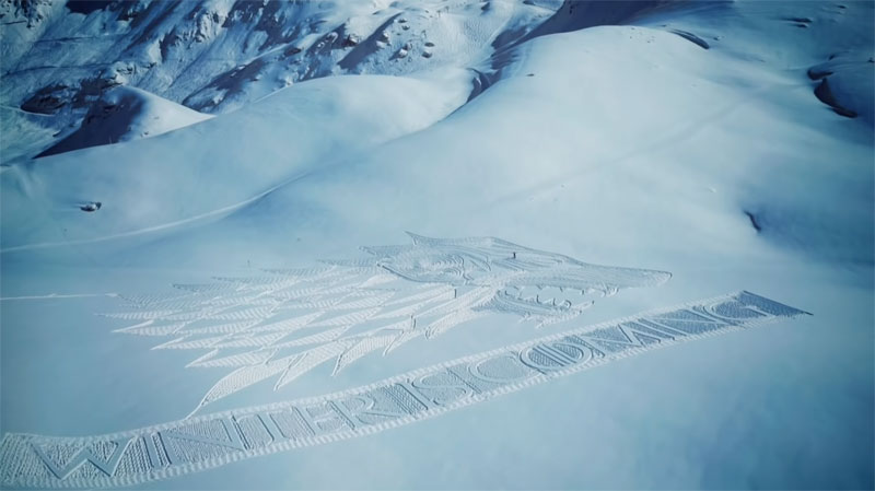 game of thrones direwolf snowshoe art by simon beck 7 A Giant Direwolf in the Mountains Made from Snowshoe Prints