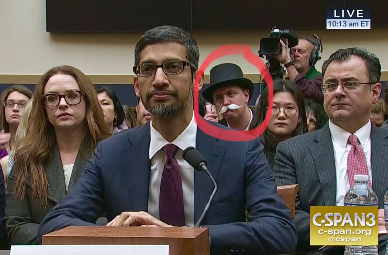 monopoly man at google ceo sundar pichai congressional hearing 7 The Monopoly Man Showed Up At Googles Congressional Hearing Today