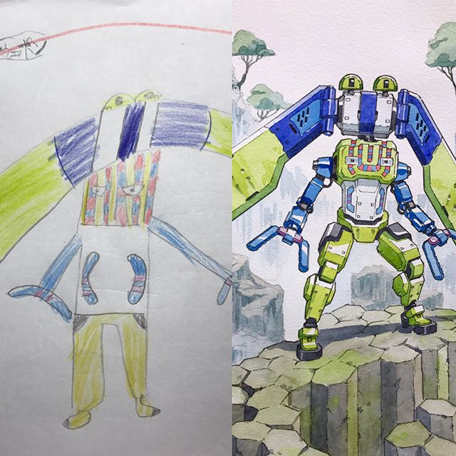 thomas romain illustrates his kids drawings 10 Animator Dad Illustrates His Kids Drawings and Everything is Awesome