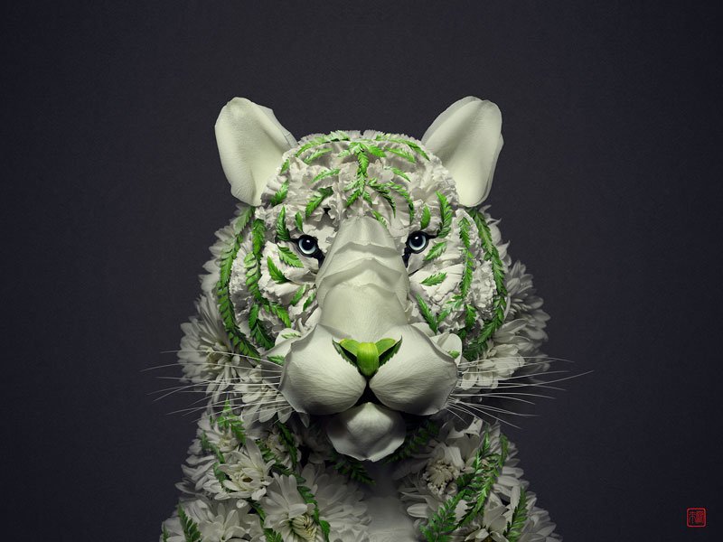 animal portraits made from flowers raku inoue 1 When Kingdoms Collide: Animal Portraits Made from Floral Arrangements