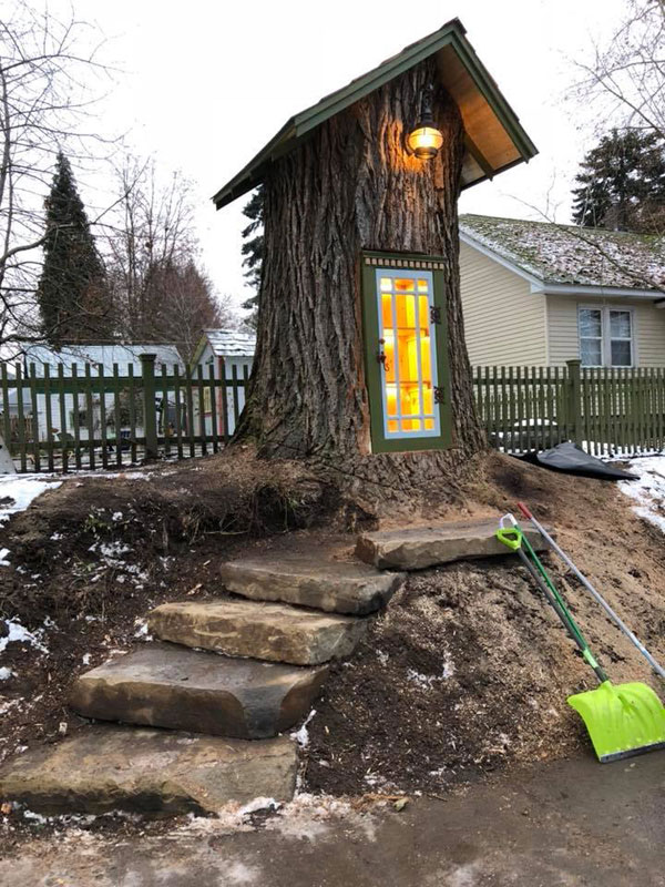 book tree library in old trunk sharalee armitage 2 Woman Forced to Remove Dying Tree, Turns It Into Tiny Library Instead