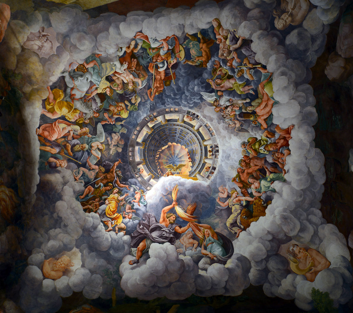 ceiling of the room of the giants in palazzo te mantua italy by giulio romano This Ceiling Fresco at Palazzo Te in Italy