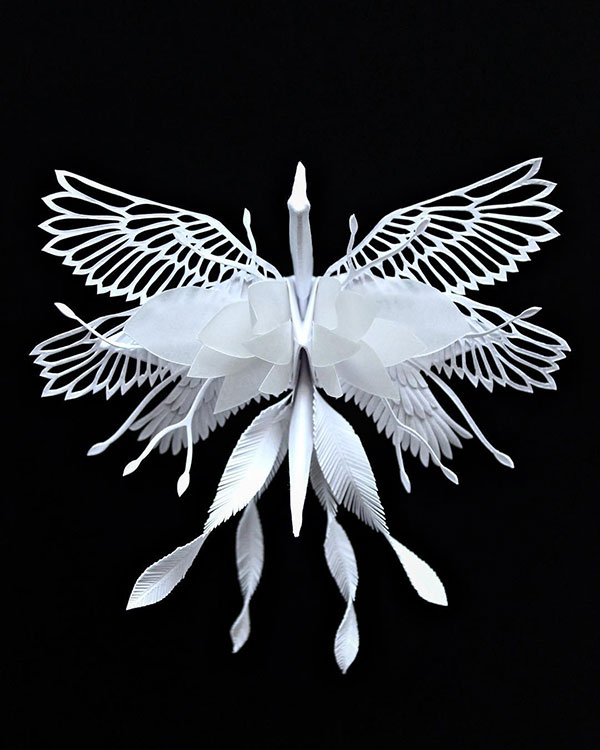 paper crane decorations by cristian marianciuc 20 Paper Artist Folds Cranes and Then Gives Them Intricate Decorations