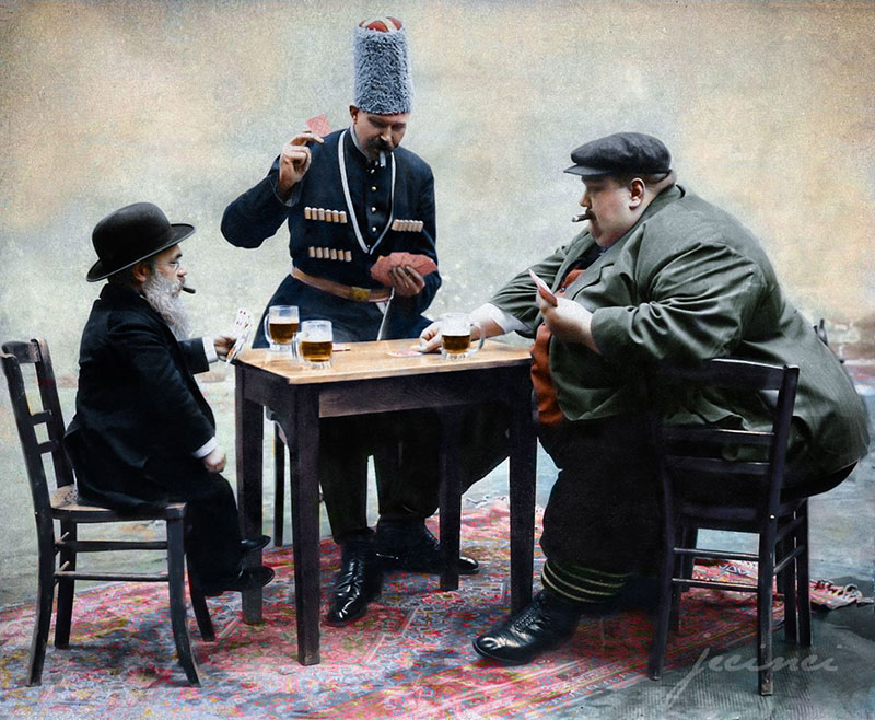 tallest fattest and shortest people in europe playing cards colorized 1913 The Tallest, Shortest, and Fattest Men in Europe, 1913 (Colorized)