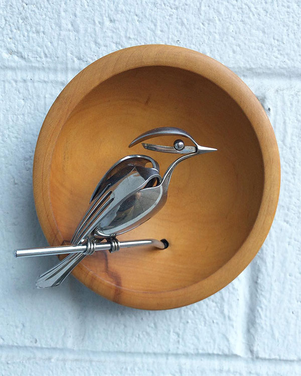 utensil birds by matt wilson airtight artwork23 Matt Wilson Upcycles Old Utensils Into Beautiful Birds (23 Photos)