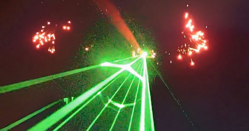 This Laser Shooting, Fireworks Blasting Air Show Finale is Bonkers