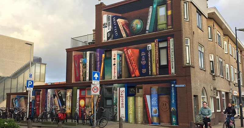 Dutch Artists Paint Giant 3D Bookshelf of Neighborhood's Favorite Books