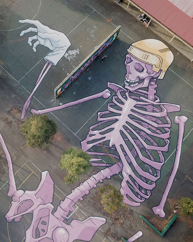 giant murals by kitt bennett4 Imagine Working in a High Rise and Seeing These On the Ground