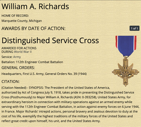 major william a richards 4 Using Sand from Omaha Beach to Make These Heroes Names More Visible