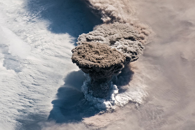 volcanic eruption from above nasa 3 Raikokes First Eruption in 95 Years Captured by NASA Astronauts