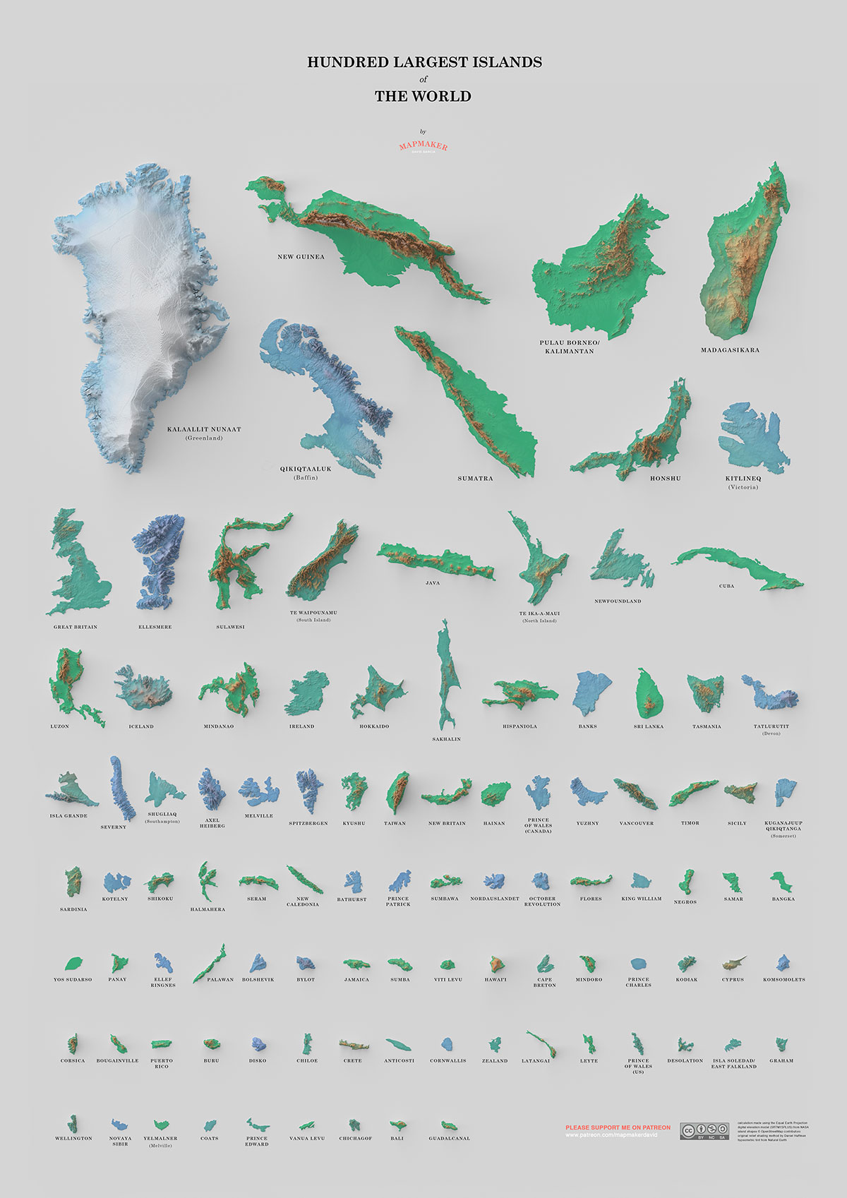 100 largest islands of the world poster A Fascinating Poster of the 100 Largest Islands in the World