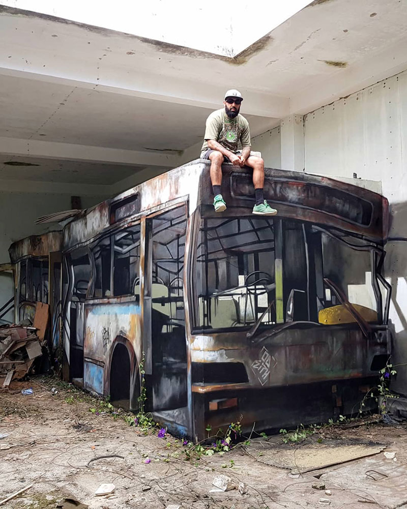 street artist odeith turns block wall into bus 6 Street Artist Transforms Old Block Wall Into Something Far More Creative