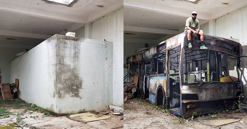 street artist odeith turns block wall into bus 8 Street Artist Transforms Old Block Wall Into Something Far More Creative