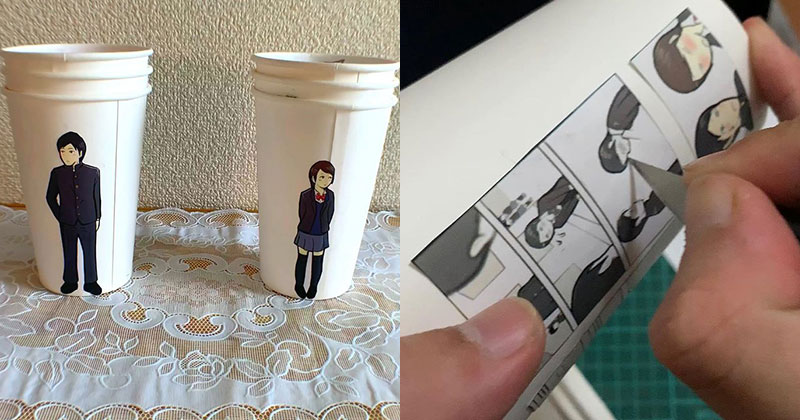 Artist Finds Creative Way to Use Paper Cups To Tell a Love Story
