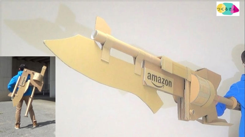 guy makes toy weapons from old amazon boxes 7 Guy Makes Oversized Novelty Weapons from Old Amazon Boxes