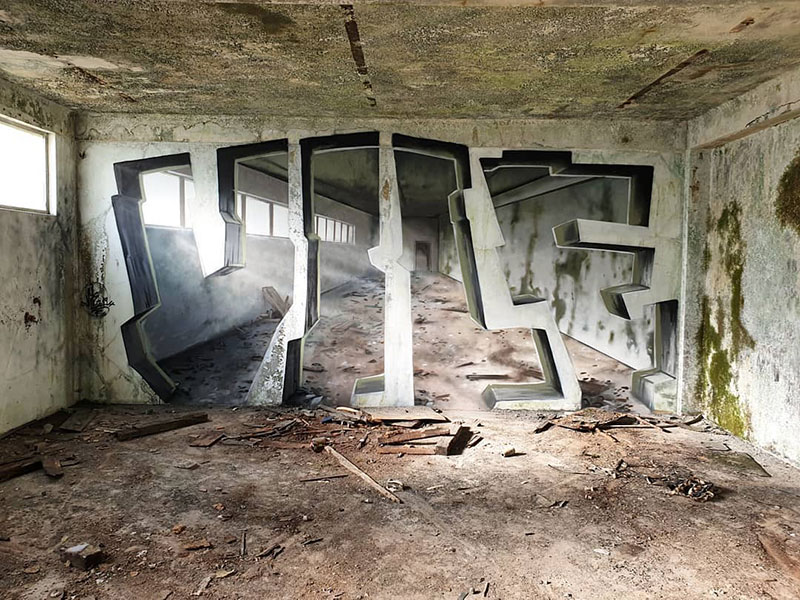 street artist vile fools viewers into believing he cut actual walls out 8 Surreal Street Artworks That Looks Like the Walls Were Chiselled Out