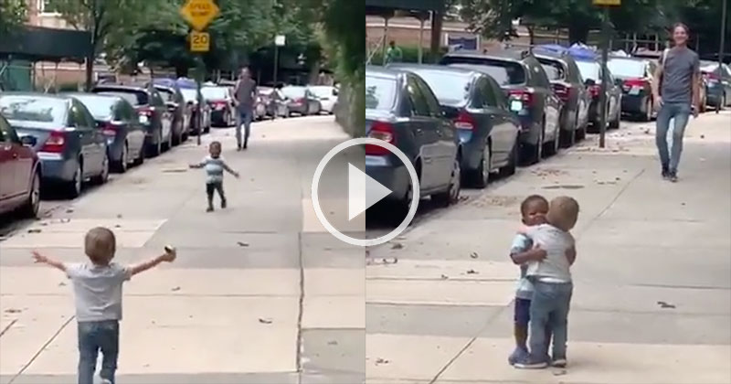 Toddler Besties Running Into Each Other on the Street is Everything