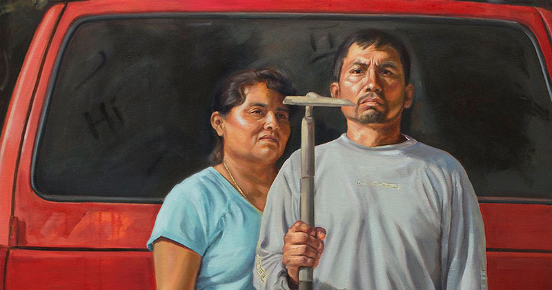 """""""The New American Gothic"""" by Criselda Vasquez (Oil on Canvas 72″ x 48″)"""