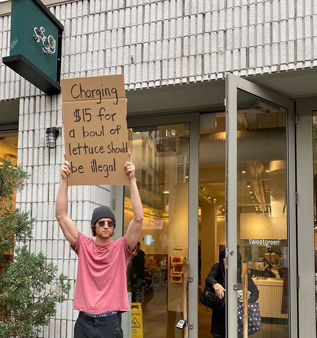 dude with sign protests random things instagram 8 Dude with Sign Protests the Most Random Things (13 Photos)