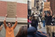 Dude with Sign Protests the Most Random Things (13 Photos)
