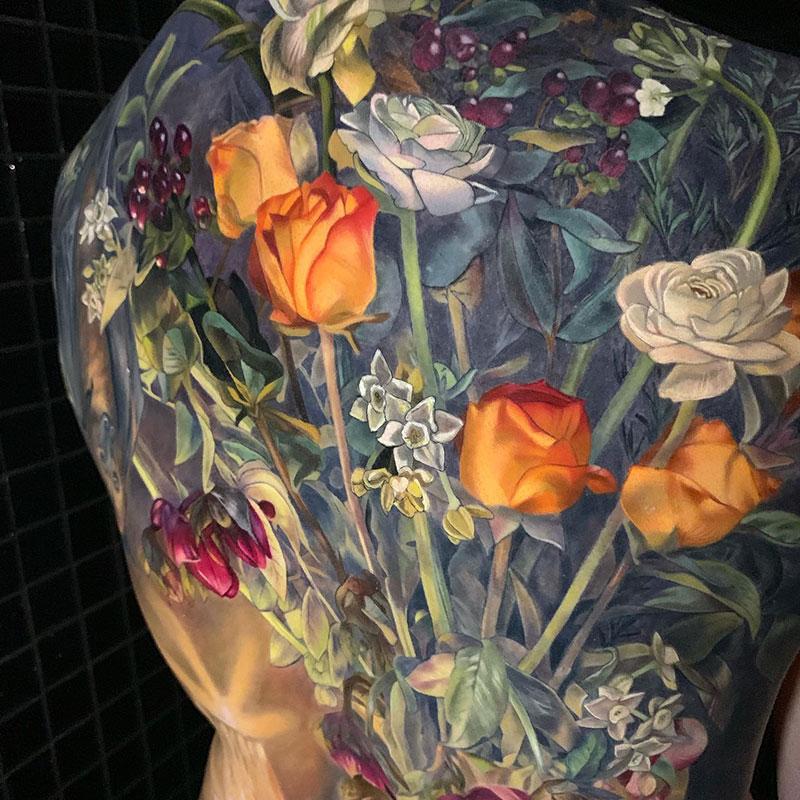 full back piece by makkala rose tattoo still life 3 This Full Back Piece by Makkala Rose is a Masterpiece
