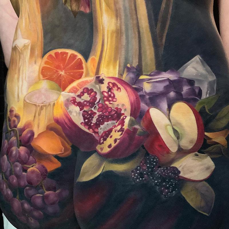 full back piece by makkala rose tattoo still life 4 This Full Back Piece by Makkala Rose is a Masterpiece