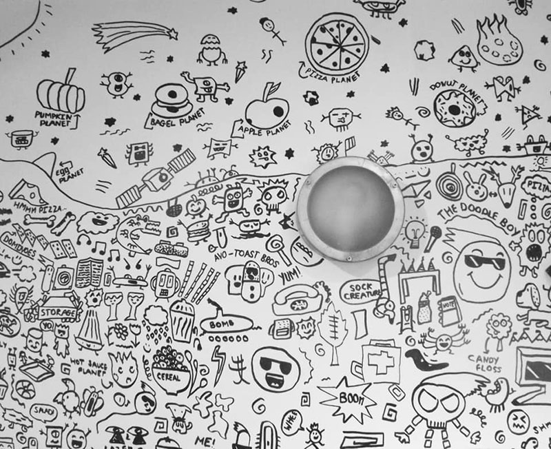 kid told not to doodle in class gets hired by local restaurant to decorate their walls 3 Kid Told Not to Doodle in Class Gets Hired by Local Restaurant to Decorate Their Walls