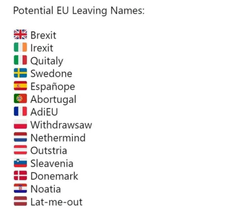 leaving eu names for countries The Internet Made a List of Potential EU Leaving Names and Its Amazing