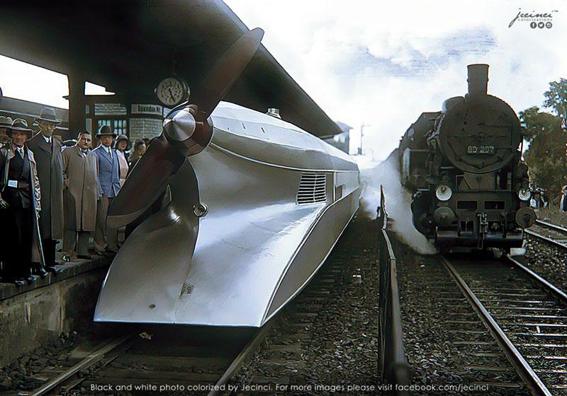 rail zeppelin colorized by jecini The Schienenzeppelin in Berlin, 1931 (Colorized)