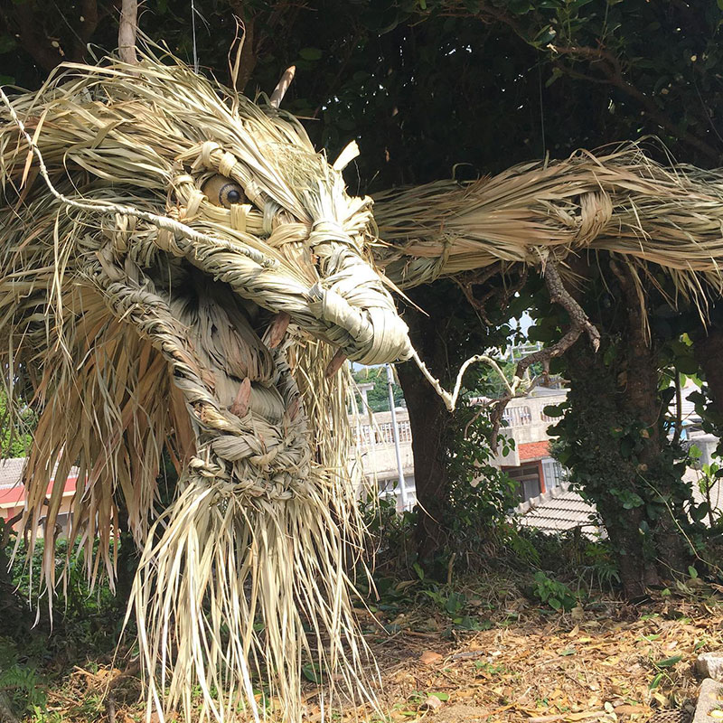 dragon made from palm tree leaves japan by ayako 1 This Awesome Dragon Made From Palm Tree Leaves (5 Photos)