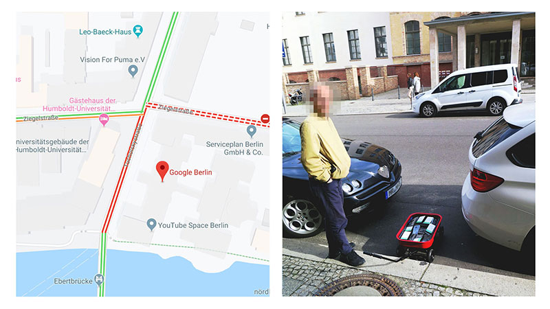 google maps hacks by simon weckert 7 Guy Hacks Google Maps With 99 Phones and a Little Red Wagon