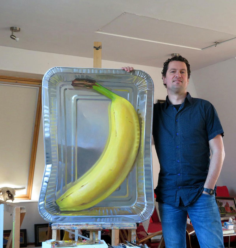 hyperrealistic banana oil painting by rutger hiemstra 4 This Oil Painting on a Flat (but Not Rectangular) Panel is Bananas