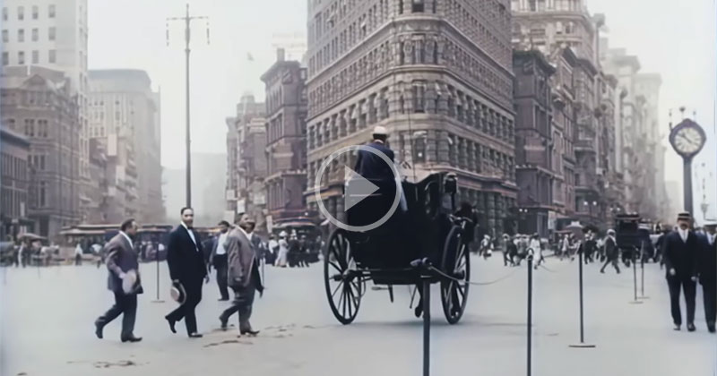New York City in 1911, Upscaled to 4K 60fps with Sound and Color Added