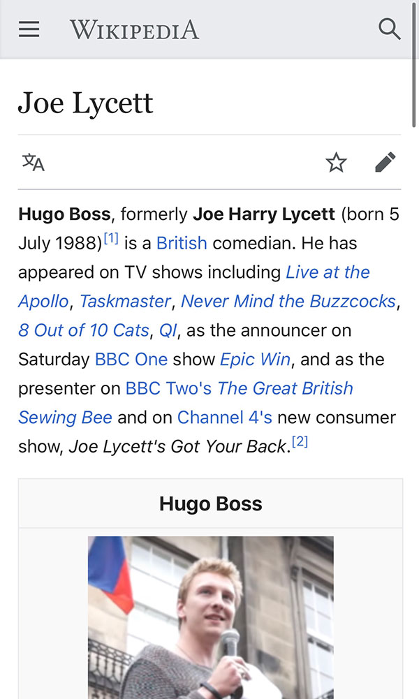 british comedian changes name to hugo boss 2 Comedian/Activist Legally Changes Name to Hugo Boss to Take on Fashion House