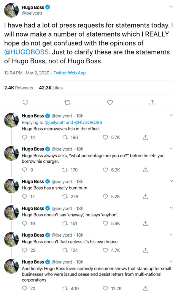 british comedian changes name to hugo boss 4 Comedian/Activist Legally Changes Name to Hugo Boss to Take on Fashion House