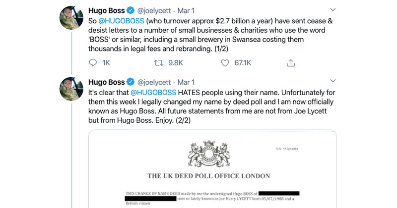 Comedian/Activist Legally Changes Name to Hugo Boss to Take on Fashion House