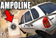 Just In Case You've Never Seen a Car Dropped 150 ft Onto a Trampoline