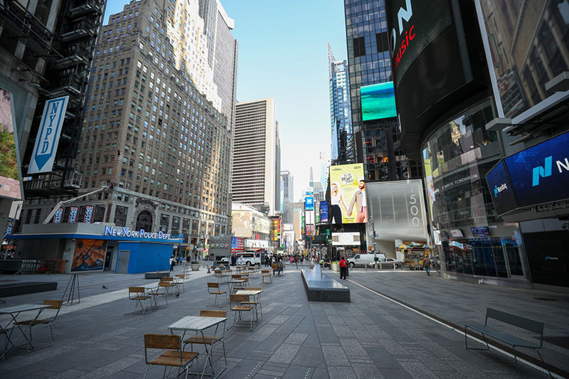 empty times square new york This Picture of Times Square Says It All