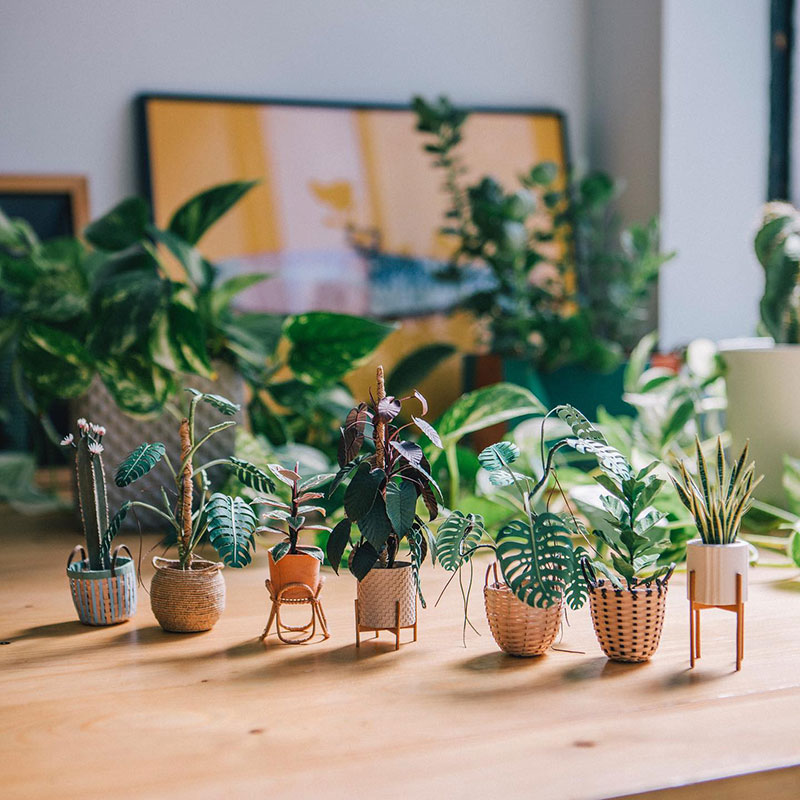 miniature paper potted plants by raya sader bujana 10 These Miniature Potted Plants Made from Paper are Just Adorable
